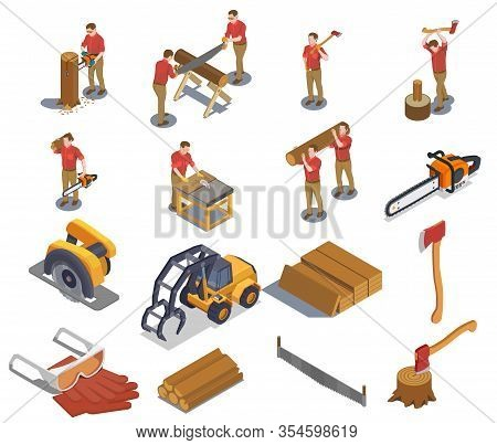 Sawmill Timber Mill Lumberjack Isometric Set With Isolated Human Characters And Icons Of Tools Profe
