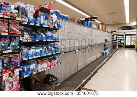 Gold Coast, Australia - March 8, 2020: Coles Supermarket Empty Toilet Paper Shelves Amid Coronavirus