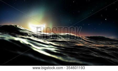 Half Moon Floating In The Ocean. Dark High Contrast Night Scene.