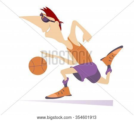 African Man Plays Basketball Isolated Illustration. Running Cartoon African Basketball Player With A
