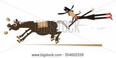 Cartoon Rodeo Illustration. Man Or Cowboy Catches A Running Horse By Horsetail Isolated On White