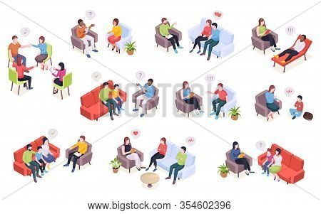People At Psychotherapy Session, Psychologist Counseling For Family Couples And Kids, Isometric Desi