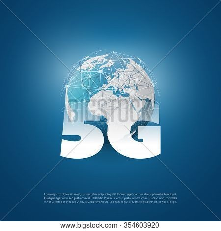 5g Network Label With Earth Globe - High Speed Global Broadband Mobile Telecommunication And Wireles