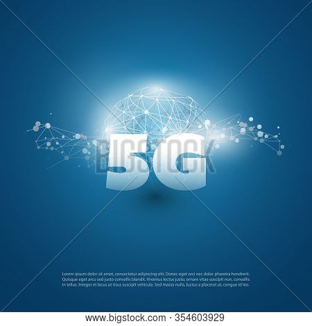 5g Network Label With Network Mesh- High Speed, Broadband Wireless Mobile Telecommunication Systems
