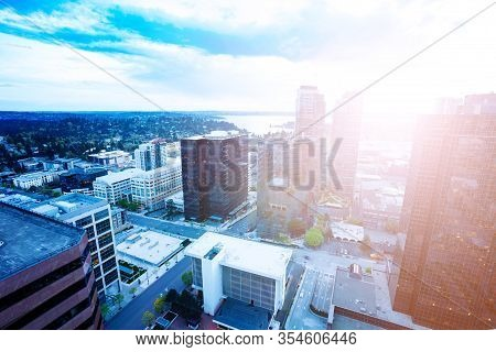Panorama Of Bellevue City Downtown Of King County, United States Across Lake Washington From Seattle