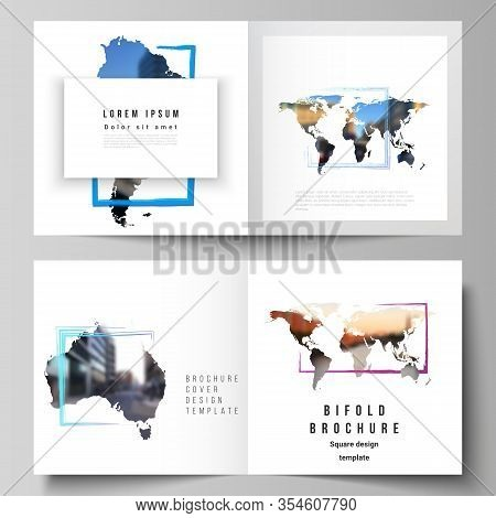 Vector Layout Of Two Covers Templates For Square Bifold Brochure, Flyer, Cover Design, Book Design,