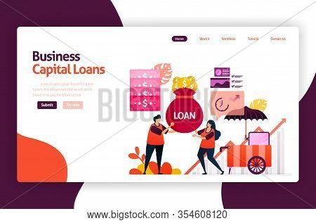 Vector Illustration Of Venture Capital Loans For Sme Development And Investment. Low Interest Credit