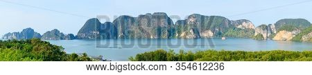 Beautiful Panoramic View Of Krabi Montains And Sea. View From The Viewpoint At Leamsak Temple, Aoleu
