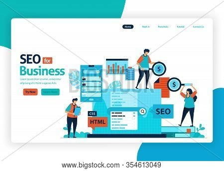 Vector Illustration Website For Marketing Optimization With Seo. Online Advertising With Keywords In