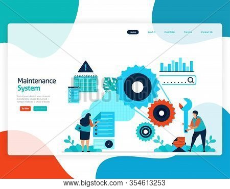 Homepage Landing Page Vector Flat Illustration Of Maintenance System. Repair And Maintenance Of Clou