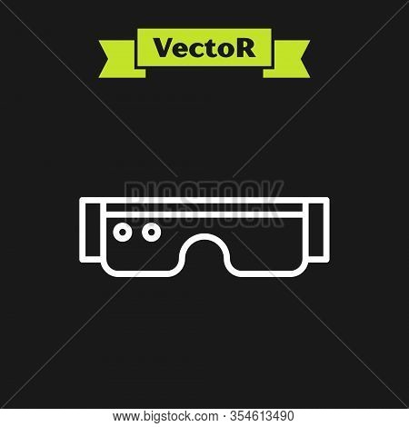 White Line Smart Glasses Mounted On Spectacles Icon Isolated On Black Background. Wearable Electroni