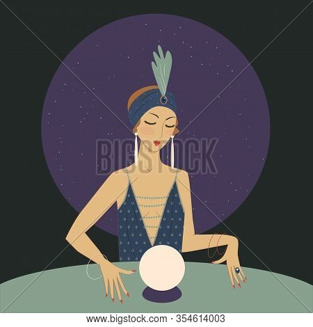 Spiritual Girl With Crystal Ball Is Guessing. 1920s Style Illustration