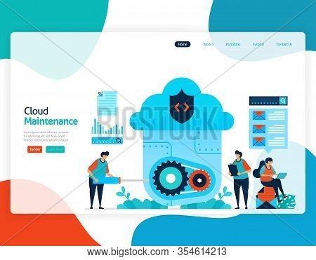Homepage Landing Page Vector Flat Illustration Of Cloud Maintenance. Repair And Maintenance Of Cloud