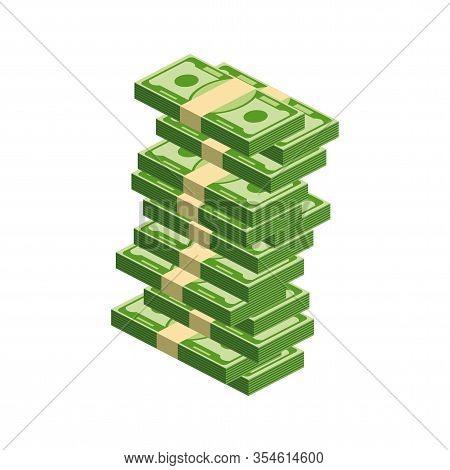 Huge Packs Of Paper Money. Bundle With Cash Bills. Keeping Money In Bank. Deposit, Wealth, Accumulat