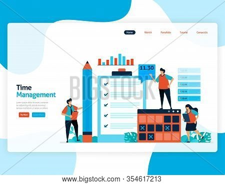 Landing Page Vector Of Time Management And Scheduling Jobs Project, Plan And Manage Work On Time, La
