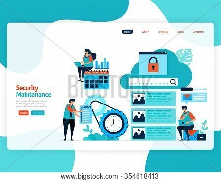 Homepage Landing Page Vector Flat Illustration Of Security Maintenance. Repair And Maintenance Of Cl
