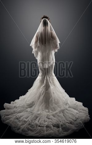 Wedding Bride Back Rear View, Beautiful Woman In Elegant Sexy Dress With Long Tail Train And Veil, S
