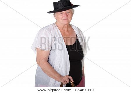 Woman With Cane And Hat