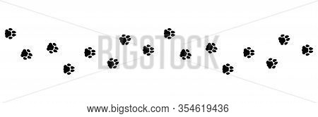 Flat Linear Design. Set Of Icons. Paw Print Foot Trail. Dog, Cat Paw Print Isolated On A White Backg