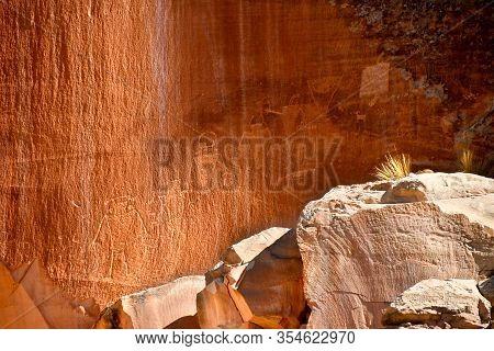 Petroglyphs Left By The Fremont Indians.  Capital Reef National Park.