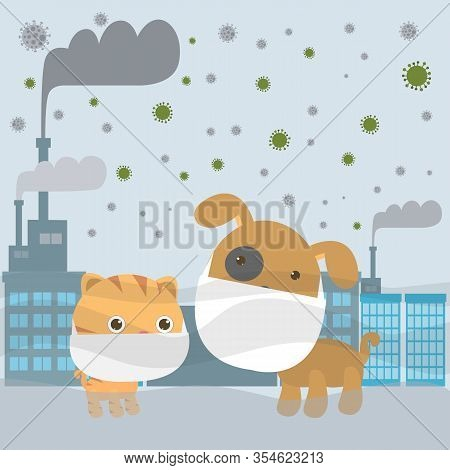 Dog And Cat In Masks Because Of Fine Dust Pm 2.5, Covid-19, Corona Virus, Animal Wearing Mask Agains