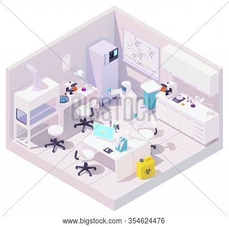 Vector Isometric Medical Laboratory And Scientist With Samples Of Coronavirus. Doctor With Test Tube