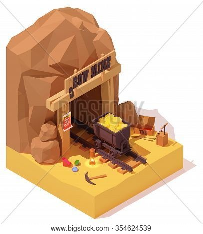 Vector Isometric Old Gold Mine Entrance And Rusty Mine Cart Or Mine Trolley Loaded With Gold. Dynami