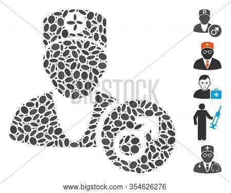 Dotted Mosaic Based On Urology Doctor. Mosaic Vector Urology Doctor Is Created With Random Ellipse S