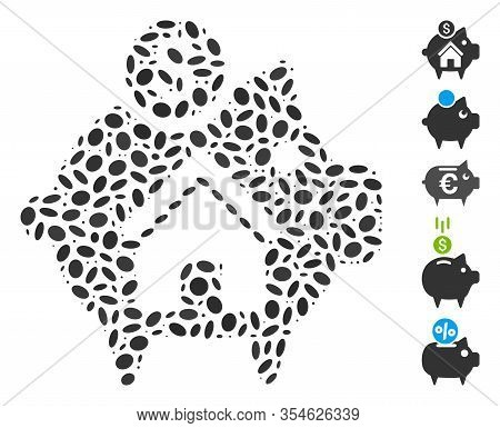 Dotted Mosaic Based On Realty Piggy Bank. Mosaic Vector Realty Piggy Bank Is Formed With Random Elli