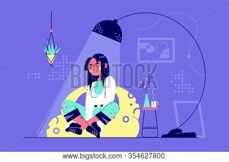 Young Relaxing Woman Character Under Lamp In Living Room At Home. Concept Attraction Girl Resting Si