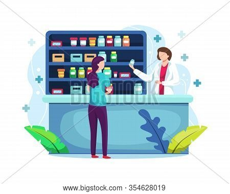 Vector Illustration Pharmacist At Counter In Pharmacy. Pharmacy With Pharmacist In Counter And Peopl