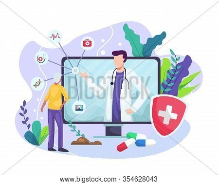 Vector Illustration Online Medical Concept. Medical Consultation By Internet With Doctor. Online Doc