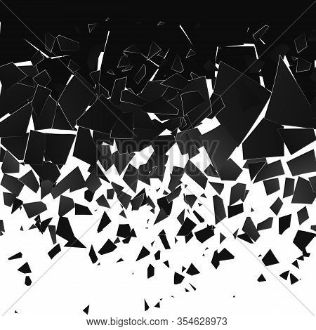 Destruction Effect. Abstract Cloud Of Pieces And Fragments After Wall Explosion. Vector