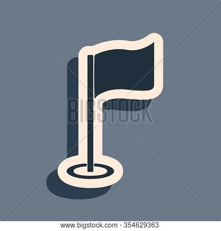 Black Golf Flag Icon Isolated On Grey Background. Golf Equipment Or Accessory. Long Shadow Style. Ve