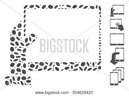 Dotted Mosaic Based On Hand Holds Pda. Mosaic Vector Hand Holds Pda Is Created With Scattered Oval I