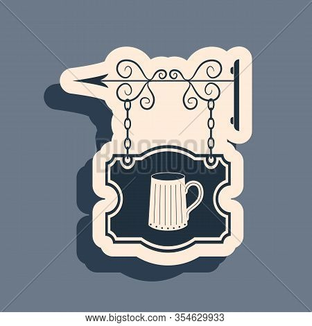 Black Street Signboard Hanging On Forged Brackets With Wooden Mug Of Beer Icon Isolated On Grey Back