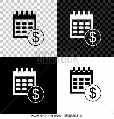 Set Financial Calendar Icon Isolated On Black, White And Transparent Background. Annual Payment Day,