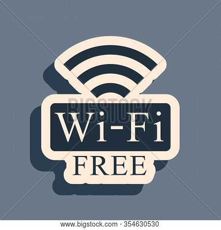 Black Free Wi-fi Icon Isolated On Grey Background. Wi-fi Symbol. Wireless Network Icon. Wi-fi Zone.