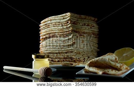 Shrovetide Maslenitsa Butter Week Festival Meal. Stack Of Russian Pancake Blini On A Dark Rustic Woo