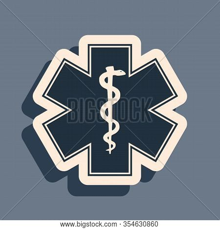 Black Medical Symbol Of The Emergency - Star Of Life Icon Isolated On Grey Background. Long Shadow S