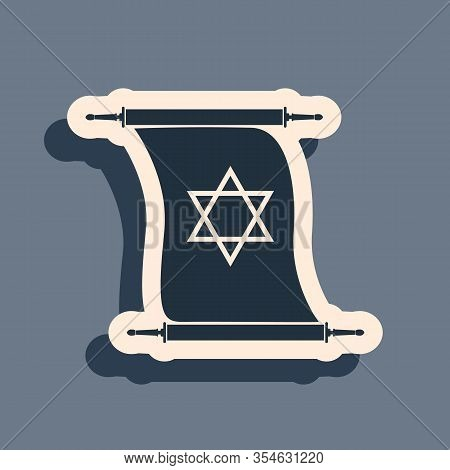 Black Torah Scroll Icon Isolated On Grey Background. Jewish Torah In Expanded Form. Torah Book Sign.