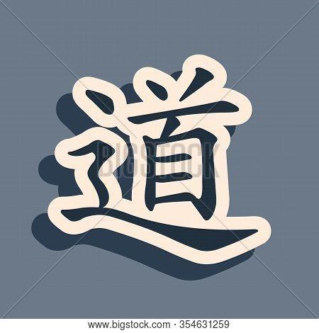 Black Chinese Calligraphy, Translation Dao, Tao, Taoism Icon Isolated On Grey Background. Long Shado