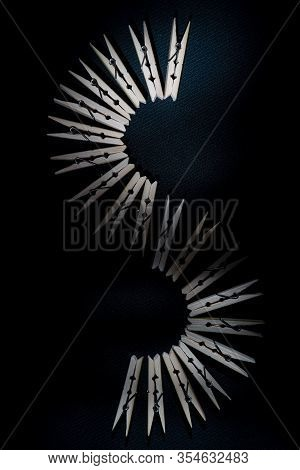 Wood Clothespins Isolated On White Background Background, Design, Abstract, House, Texture, Construc