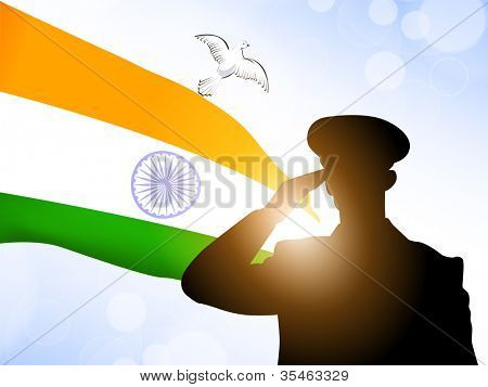 Saluting soldier silhouette on Indian Flag waving background. EPS 10.