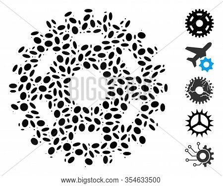 Dotted Mosaic Based On Pinion. Mosaic Vector Pinion Is Created With Scattered Elliptic Elements. Bon