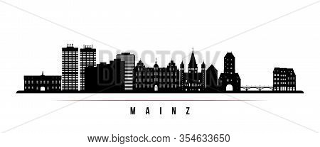 Mainz Skyline Horizontal Banner. Black And White Silhouette Of Mainz, Germany. Vector Template For Y