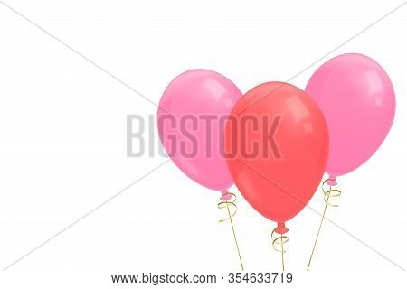 Three Realistic Flying Balloons With Golden Ribbon Illustration. Pink And Red Balloons. Birthday Gre