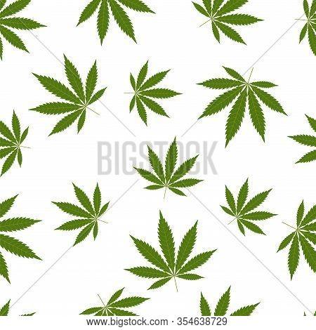 Cannabis Seamless Pattern. Marijuana Leaf, Green Weed Plant. Hashish Texture, Isolated White Backgro