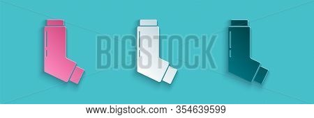 Paper Cut Inhaler Icon Isolated On Blue Background. Breather For Cough Relief, Inhalation, Allergic