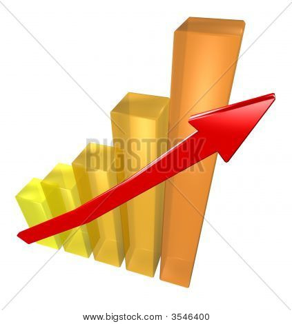 Business Graph With Red Arrow